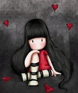 nina pensando con corazones